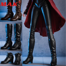 1/6 female woman shoes leather combat dual use long/short boots shoes solid feet inside model toy for 12'' girl action figure цены онлайн