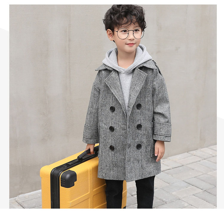 gray plaid pockets long jackets for baby boys fashion trench coats clothing kids autumn children outerwear tops clothes new 2018 (4)