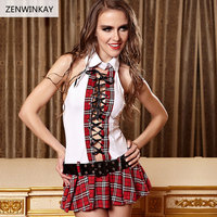 Female Plaid School Erotic Costumes Sex Wear for Women Sexy Lingerie Student Slutty Outfit Porno Dress and Blet 2 Pieces Set