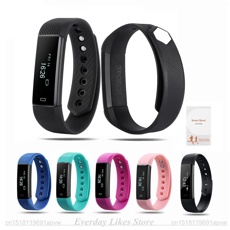 Sporch ID115 Smart Bracelet Fitness Tracker Watch Alarm Clock Step Counter Smart Wristband Band Sport Sleep