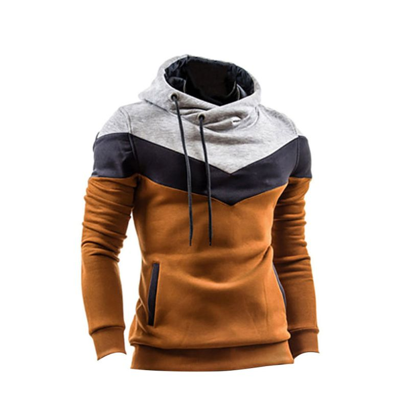 Winter Men Patchwork Long Sleeves Belt O-Neck Warm Hoodie Pullover Slim Outwear Hoddies