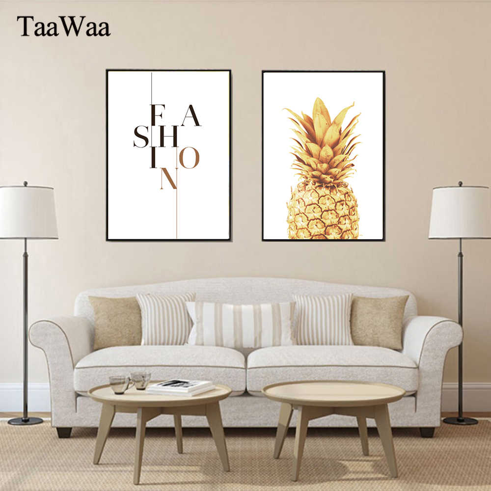 TAAWAA Gold Pineapple Posters Fashion Quote Canvas Painting and Prints Nordic Minimalist Art Wall Pictures for Living Room Decor