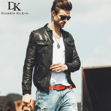 Dusen Klein 2017 New leather Jackets for men Nature Leather Black/Slim/Simple Business Style/Sheepskin Coat DK059