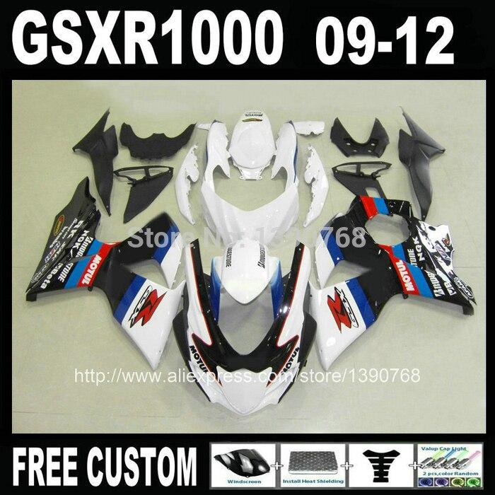 Injection ABS fairing kit for SUZUKI GSXR 1000 2009 2010 2011 2012 black white bodywork fairings set K9 GSXR1000 09-12 ML24
