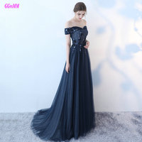 Junoesque Dark Navy Evening Gowns 2017 Sexy Sweetheart Tulle Appliques Beading Lace Up Lady Evening Dress