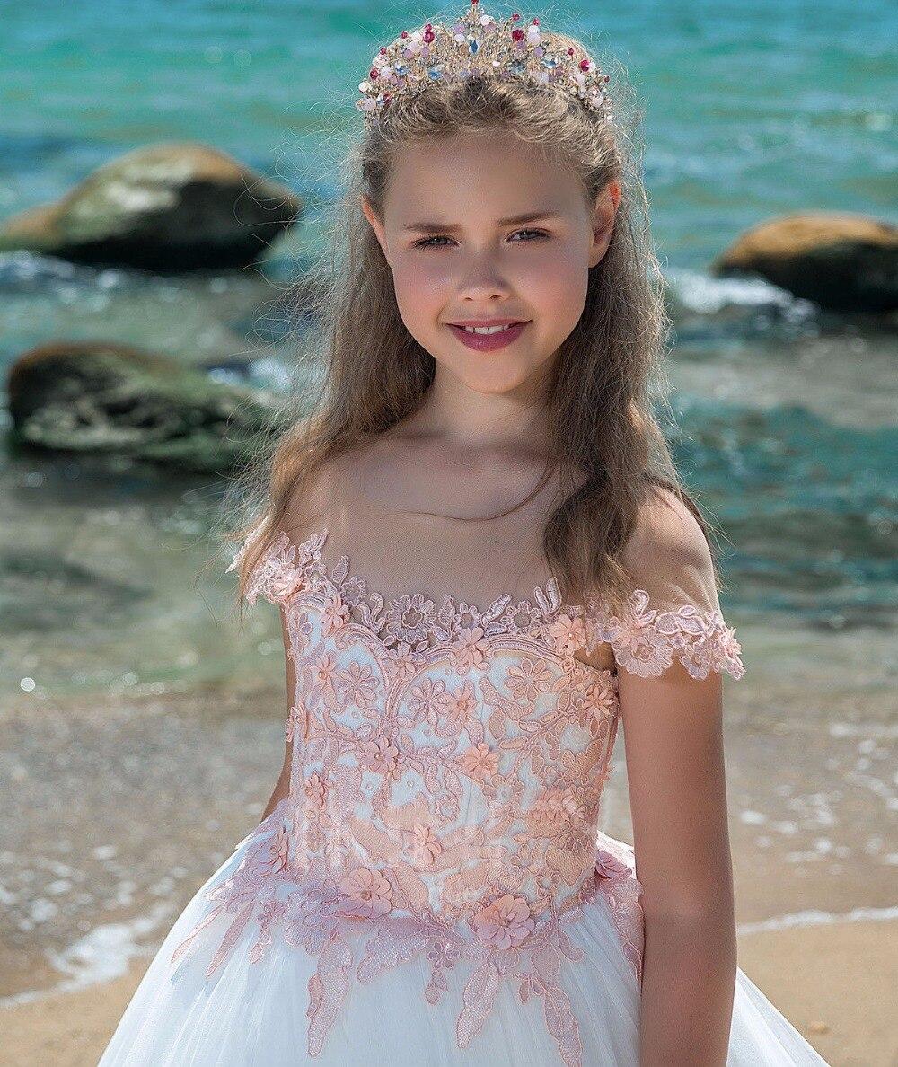 Real Photo Pink Flower Girl Dress Elegancki Off Shoulder Lace - Odzież dla niemowląt - Zdjęcie 3