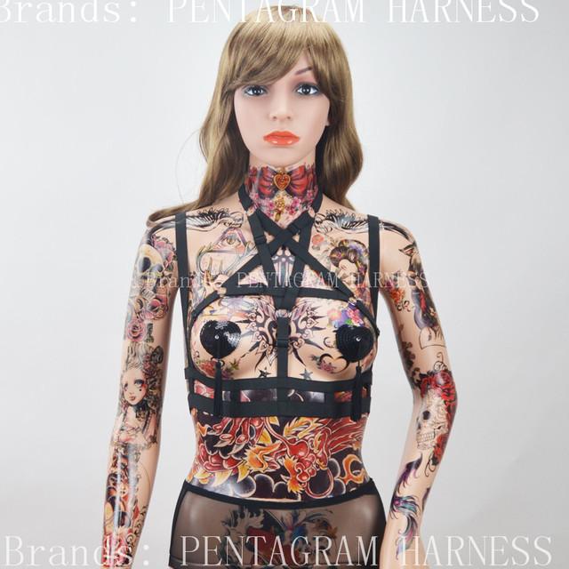Pentagram harness jaula bondage sujetador negro elástico tiras body harness harajuku goth burlesque lencería fetiche erótico liguero