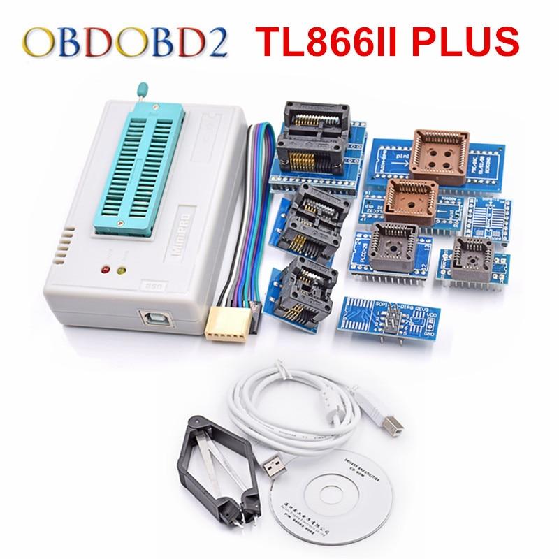 цена на High Performance Original Mini Pro TL866II Plus USB BIOS Universal Programmer With 9 IC Adapters MINIPRO TL866II For Free Ship