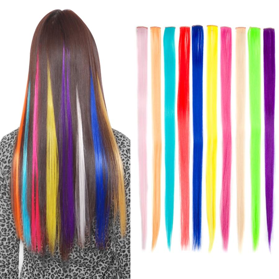 ELEGANTMUSER Färgad klämma i hårförlängningar Långa raka - Syntetiskt hår - Foto 4