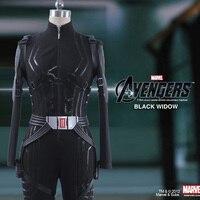 Film Avengers: Endgame Black Widow Natalia Alianovna Romanova Natasha Romanoff Cosplay Costume Women Black Jumpsuits Gloves Belt