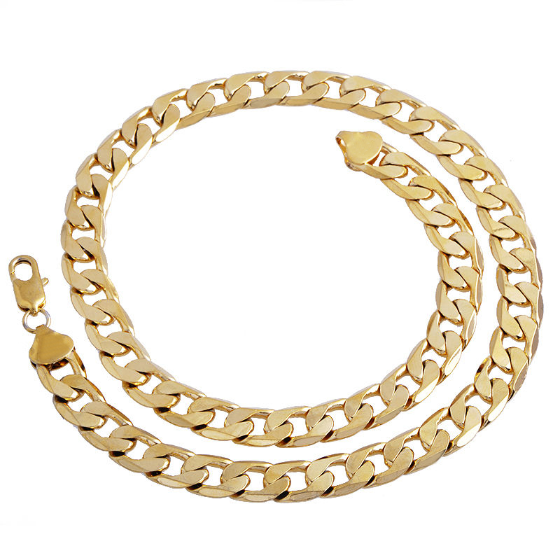 1pc Gold Plated Cuban//Curb Link Chain Necklace Bracelet Mens Jewelry Accessories