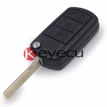 Keyecu 10/lot Remote Key Case Fob 3 Button Folding Shell for LAND ROVER LR3 & Range Rover Sport 2005-2009 67# Uncut Blade