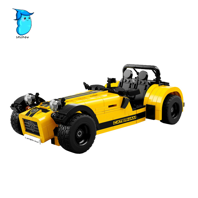 StZhou 810pcs Compatible Race CATERHAM SEVEN Building Blocks Classic Sport Car Model Educational Toys For Children