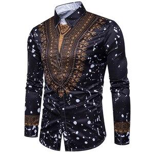 Image 2 - Camisa masculina casual 3d estilo nacional, com estampa floral, camisa masculina manga longa 3xl
