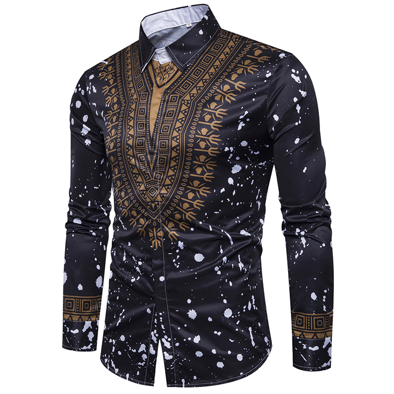 Image 2 - New tops men's casual shirt 3D National style printing Floral pattern shirts men fashion Standard Edition long sleeve Shirt 3XL-in Casual Shirts from Men's Clothing