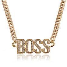 0d2b9b142441 Punk de cristal carta jefe colgante collares de plata de oro Color Cubano cadena  collar Hip Hop collar de la joyería para hombre.