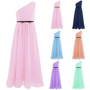 Image 2 - Плиссированные платья с одно плечо и вышивкой для девочек, детские платья для девочек на свадьбу или свадьбу, рождественское бальное платье принцессы