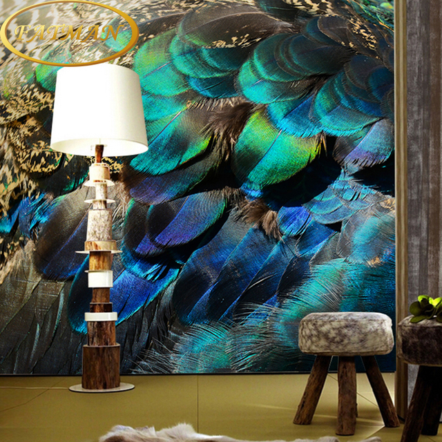 Custom Photo Wallpaper 3D Southeast Peacock Feather Personalized Wallpaper Decorating  Bedroom Porch Wallpaper Mural