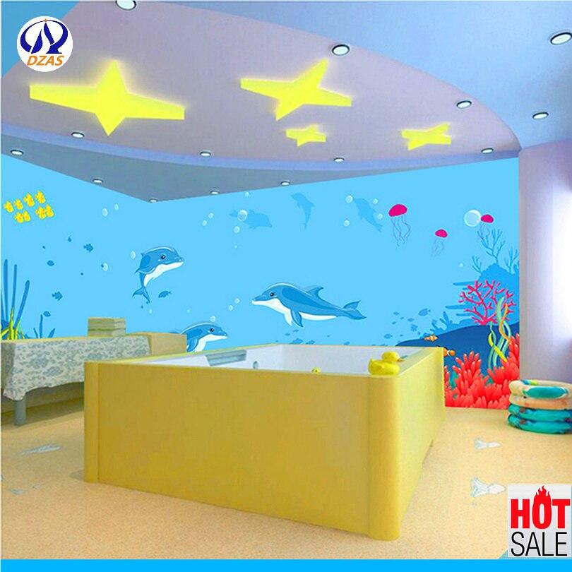 2018 Meeresboden Welt Tapete Schwimmen Pool Tapete Cartoon Kinder Zimmer Schlafzimmer Wandbild 3d Stereo Dzas-cx Thema Aquarium Wandbild