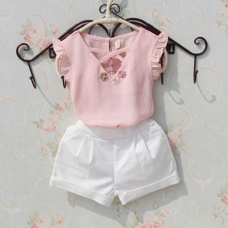 450e0f9ea175 2019 Summer T-shirts For Girls Clothes Children Clothing Cute Chiffon  Sleeveless T-shirt