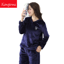 Xiangerma Flanner Set Winter Women Pajamas Thermal Sleepwear Girls Nightwear Kimono Inverno Nightie Homewear Pyjama For