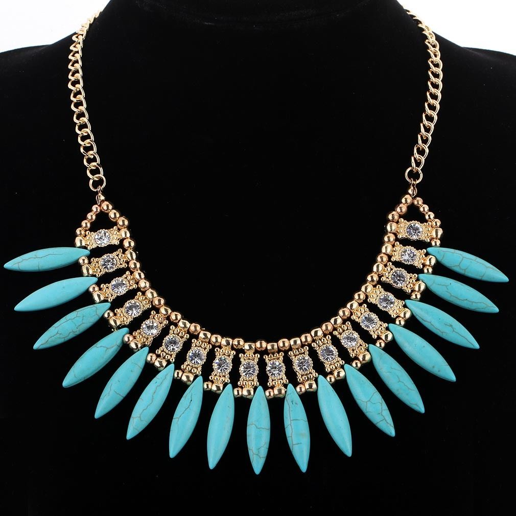4 Colors Bohemian Turquoise Maxi Necklace 2016 New Women Fashion Lovely Style Crystal Choker Necklace Collier Femme Bijoux