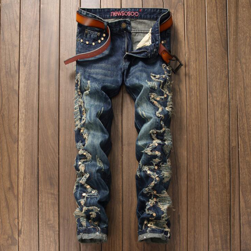 Luxury Mens Ripped Jeans Fashion Casual Denim Pants Designer Broken Hole Distressed Trousers Vintage Cotton Mens Jeans Pants  2017 mens fashion hole jeans brand designer bird embroidery straight denim trousers male luxury slim cotton zipper ripped jeans