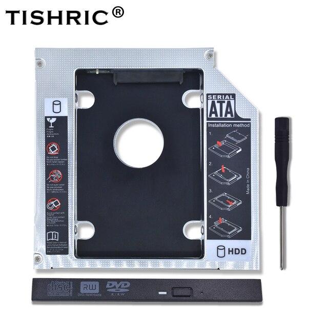 "TISHRIC Universal de aluminio 2nd HDD Caddy 12,7mm SATA 3,0 DVD adaptador para 2,5 ""7-12,5mm SSD caja CD-ROM Optibay"