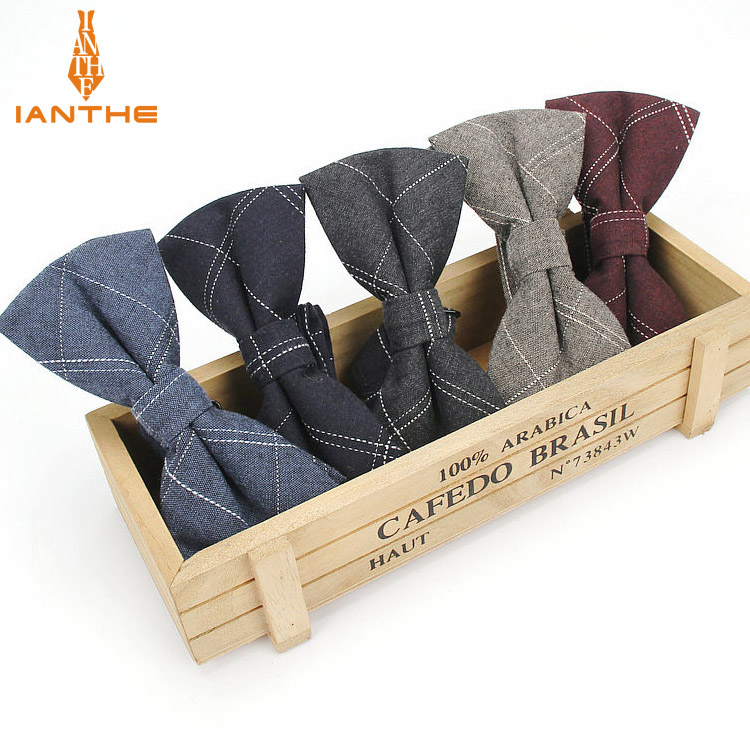 Ianthe Brand New Men's Vintage Check Cotton Bow Tie Wedding Suit Bowtie For Man Male Neckwear Fashion Butterfly Gravata Necktie