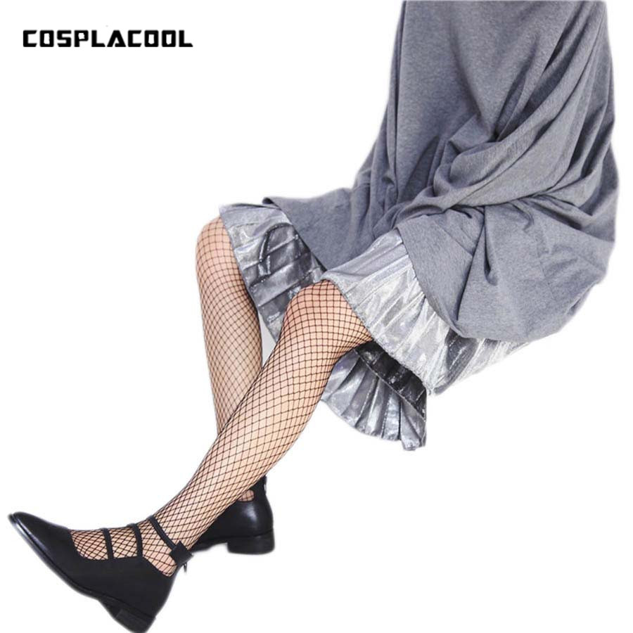[COSPLACOOL]New Pantyhose Fishnet Style Harajuku Sexy Tights Women Mesh Meias Hollow Fish Nets Over Knee Stockings 2 Colors