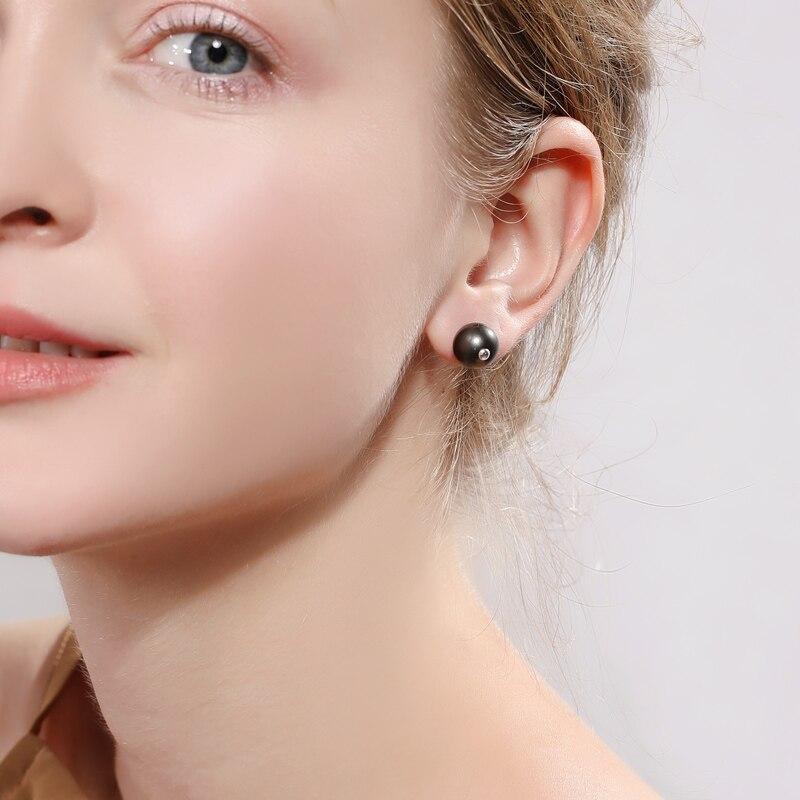 DAIMI Stylish Black Pearl Studs 10-11mm Round Tahitian Pearl Earrings 925 Silver Studs Earrings a pair of tahitian black pearl earrings silver
