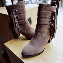 Metal Rivets Pointed Black Chunky Heel Platform Ankle Boots Leather Shoes For Womens Fringe Booties Heels Khaki High Quality