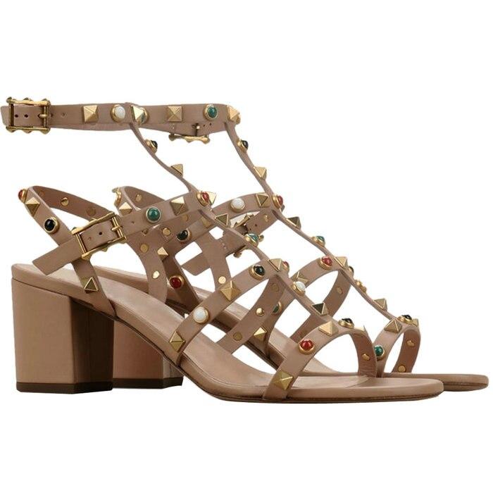 ФОТО Open Toe T Strap Ankle Buckle Square High Heels Gladiator Sandals Women's Rivets Dress Shoes  Big EU Size 35 46