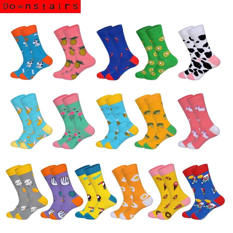 Downstairs Fashions Men Socks 17 Colors Pineapple Broccoli Flamingo Spring Summer Deodorant Skateboard Socks Dress Fit