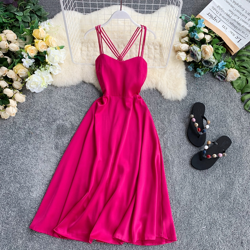 Holiday Summer 2019 Retro Dress Women Sleeveless Solid Color New High Waist Party Club Elegant Vestidos F689