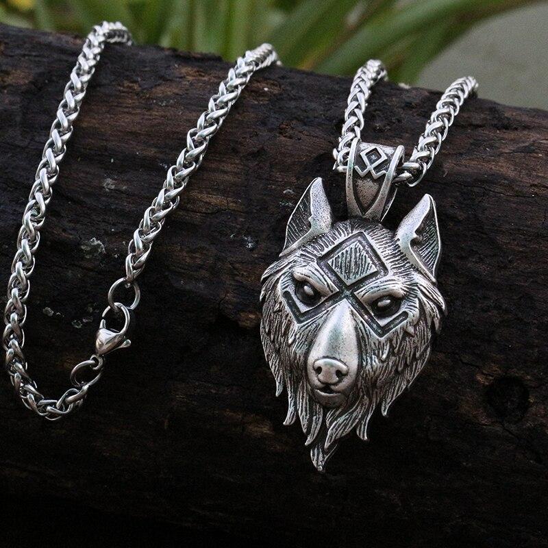 Lanseis 1 stücke viking wolf kopf anhänger nordischen wolf symbol männer halskette Alte silber schmuck