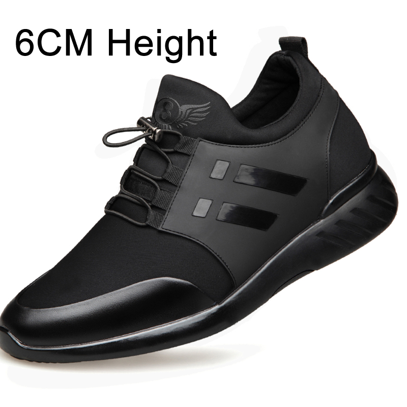 2020 Men's Shoes Quality Lycra+Cow Leather Shoes Brand 6CM Increasing British Shoes New Spring Black Man Casual Height Shoes
