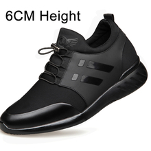 2020 Mens Shoes Quality Lycra+Cow Leather Shoes Brand 6CM Increasing British Shoes New Spring Black Man Casual Height Shoes