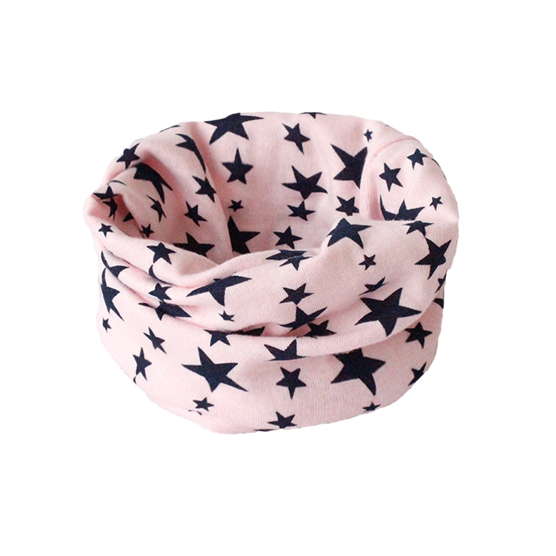 Детский хлопковый шейный шарф с милым принтом; детский теплый шарф; Детские воротники; осенне-зимний шарф-кольцо для мальчиков и девочек; аксессуары для детской одежды - Цвет: pink star