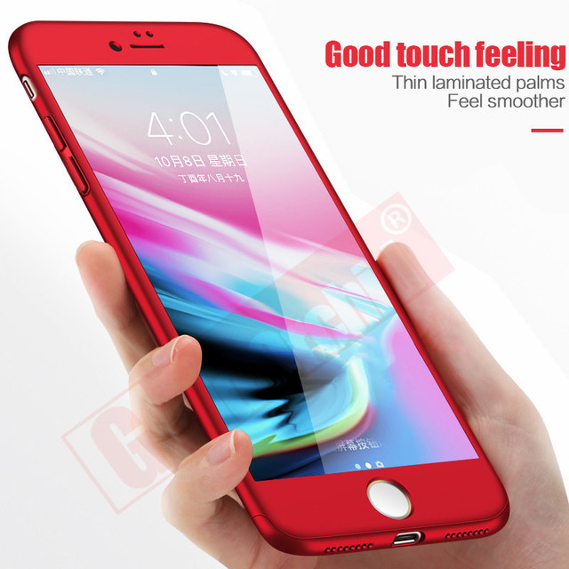 official photos 31094 9141c Gold Orchid 360 Degree Full Cover Case For iPhone 6 6s 7 Plus Cases wish  Tempered Glass For iphone 8 8 Plus X Phone Case Capa