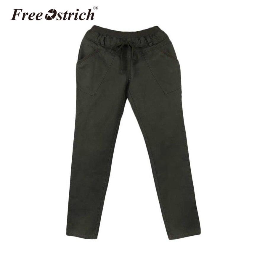 e05d255616c Free Ostrich Denim Harem Pants Women Casual Solid Elastic Waist Pleated  Pocket Full Length Trousers Women