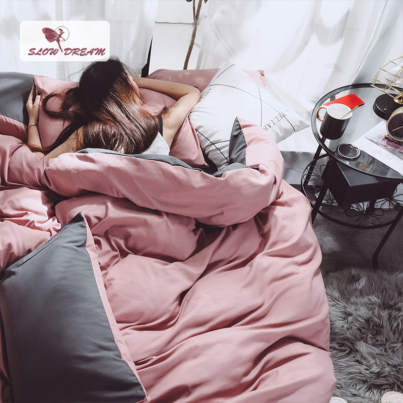 SlowDream Pink Girl Duvet Cover Set Gray Bed Flat Sheet Luxury Decor Bedding Set Bedclothes Japan Style Solid Color Bed Linens