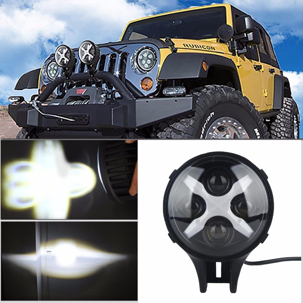 Round 6'' Auxiliary light 60W 6INCH led headlight for Jeep Wrangler JK SUV Offroad Spotlight Driving lights 2x cree round led light bar 185w 9inch spot led driving light with mask offroad for jeep ford 4x4 4wd suv buggy camper spotlight