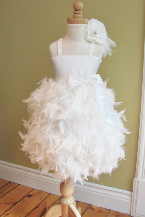 White Custom Made Feathers Ball Gown Flower Girl Dresses Weddings Spaghetti Straps Mid-calf Satin Girls Pageant - and dresses store