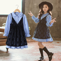 New Kids Clothing Two Pieces Set for Girls 4 12 year old Black Lace Dress Long Sleeve Stripe Sky Blue Shirt Dresses girl outfits