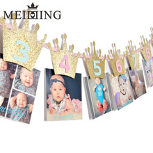 MEIDDING-1set Newborn 1-12 Month Baby Photo Banner With Clip Baby Shower First Birthday kids room decoration