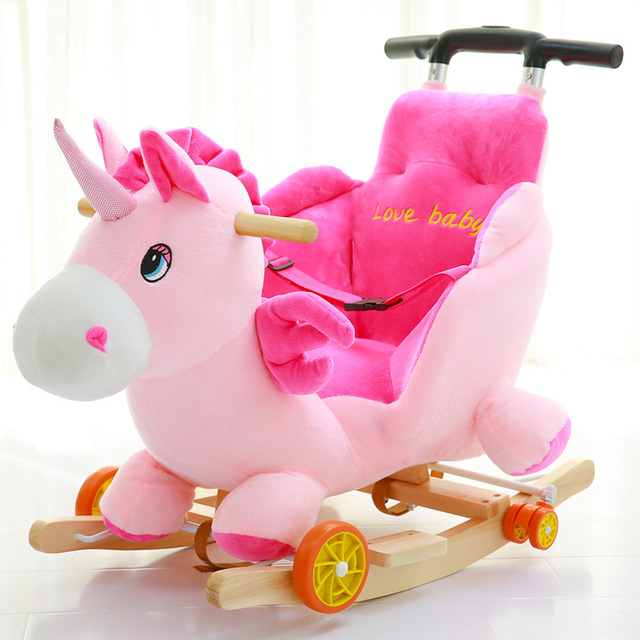 Children Rocking Chairs Baby Rocking Horse Ride on Animal Toys Dual-purpose with Music Baby Bouncer Wheel Chair Stroller 5M~4Y 1