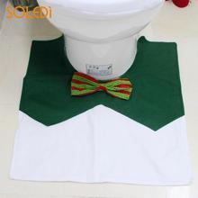 2018 Bathroom Mat Set Fashion Green Bowknot Snowman Toilet Seat Cover Christmas Decoration 3pcs Home Decor Toilet Seat Cushion