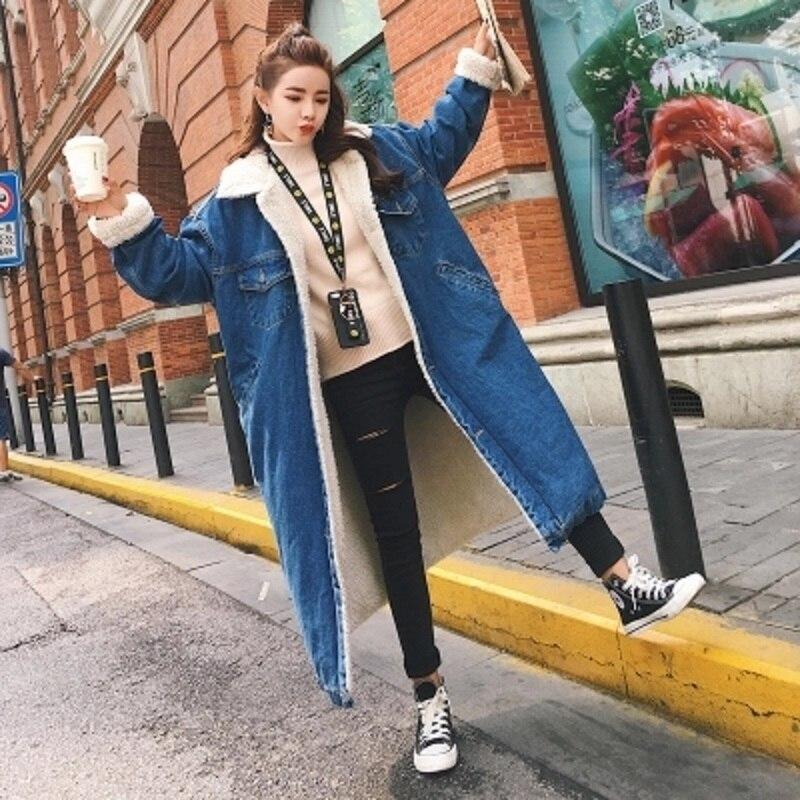 Outwear Vestes D'hiver Famale Épaississent longue Laine Poitrine Jeans 2017 Parka Manteau D'agneau Femmes Denim Chaud Unique Militaire X Photo As xvwTBYp
