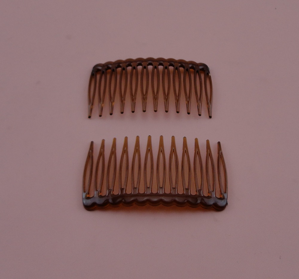 30PCS 3.8cm*6.8cm Mini 12teeth transparent dark Brown Plain Plastic Hair Combs for diy hair accessories,side comb